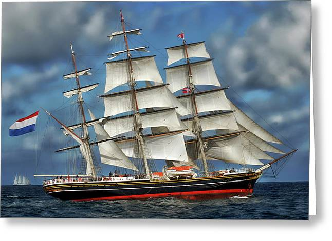 Three Mast Schooner Greeting Card