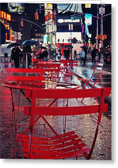 New York City Rain Greeting Cards - Times Square Greeting Card by Benjamin Matthijs