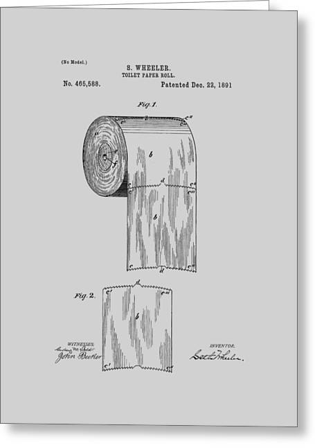 Toilet Paper Roll Patent 1891 Greeting Card by Chris Smith
