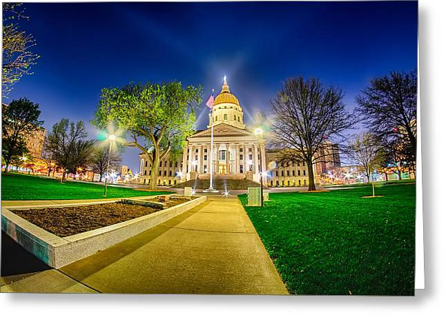 Topeka Kansas Downtown At Night Greeting Card