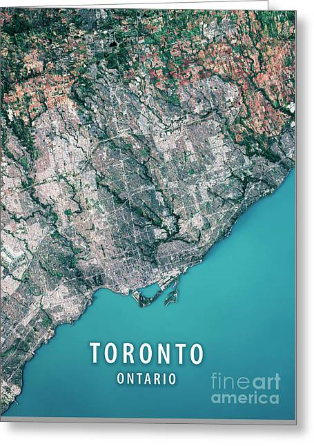 Toronto 3d Render Satellite View Topographic Map Greeting Card by Frank Ramspott