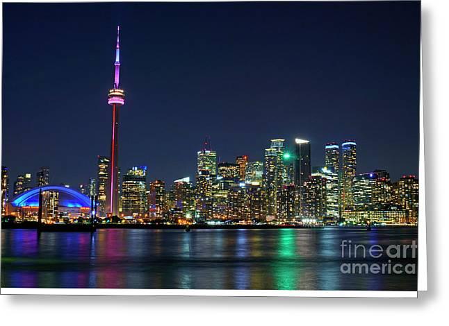Toronto Night Skyline Greeting Card by Charline Xia