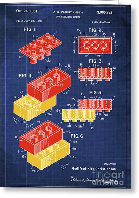 Toy Building Brick Patent Year 1958 Blueprint Greeting Card by Pablo Franchi