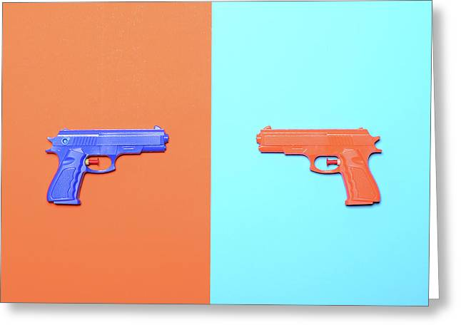 Toy Pistols On Colorful Background  - Minimal Design Top View Greeting Card