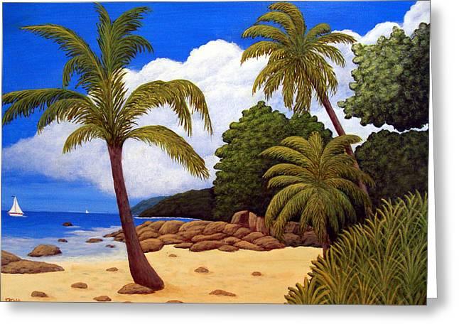 Tropical Island Beach Greeting Card by Frederic Kohli
