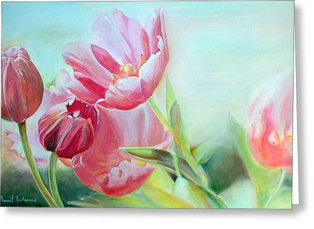 Tulipes Greeting Card by Muriel Dolemieux