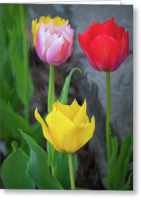 Greeting Card featuring the digital art Tulips by Cristina Stefan