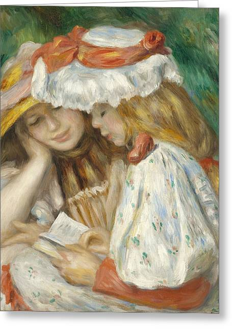 Two Girls Reading Greeting Card by Pierre Auguste Renoir