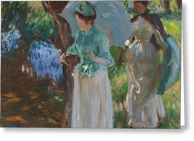 Two Girls With Parasols Greeting Card by John Singer Sargent