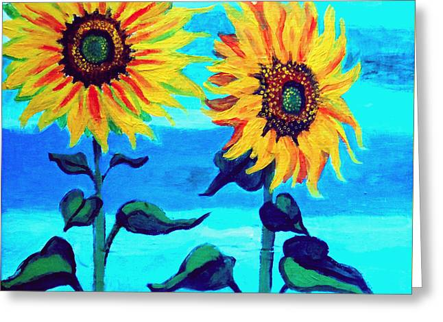 Two Sunflowers  Greeting Card by Genevieve Esson