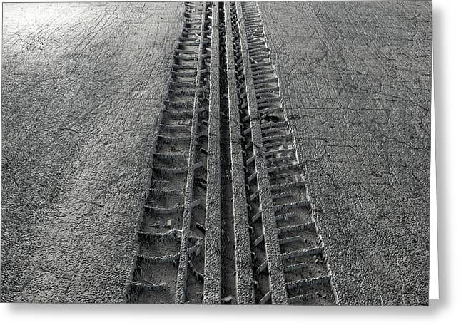 Tyre Track In The Ground Greeting Card