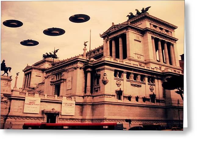 Ufo Rome Greeting Card by Raphael Terra
