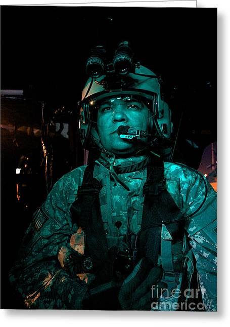 Uh-60 Black Hawk Crew Chief Greeting Card by Terry Moore