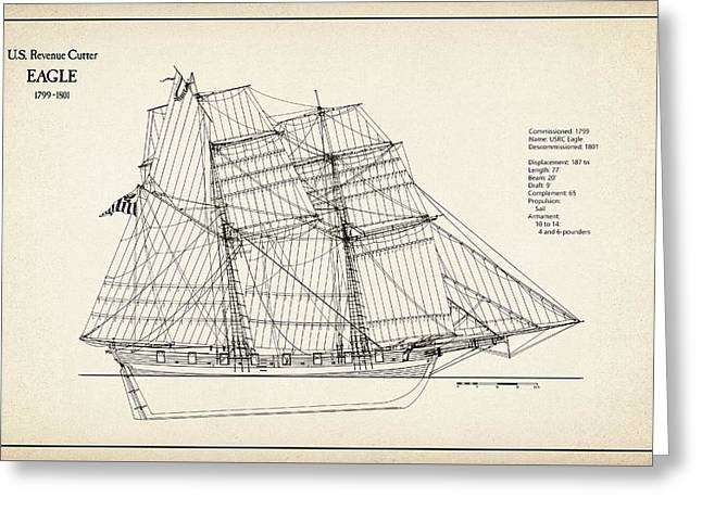 U.s. Revenue Cutter Eagle - 18th Century Greeting Card