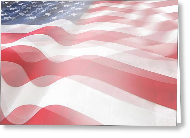 Usa Flags Greeting Card by Les Cunliffe