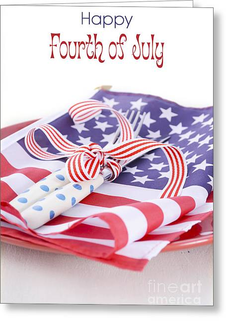 Usa Party Table Place Setting With Flag On White Wood Table.  Greeting Card