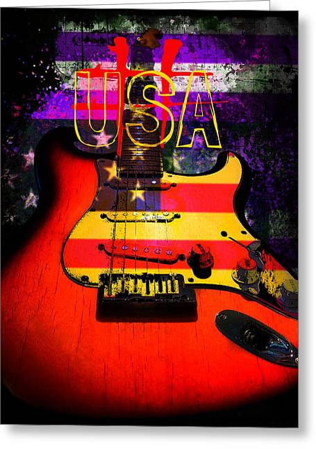 Red Usa Flag Guitar  Greeting Card