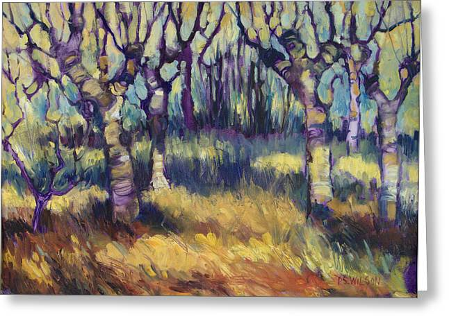 Van Gogh's Orchard Greeting Card by Peggy Wilson