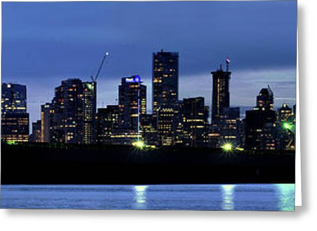 Vancouver Skyline At Dusk Greeting Card
