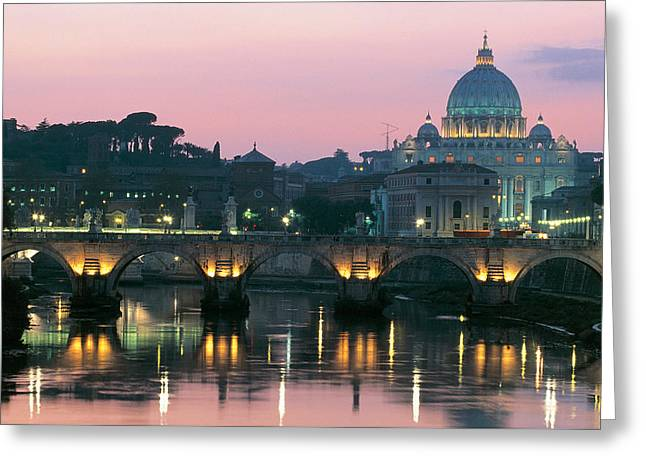 Vatican Skyline  View Of St Peters Basilica In The Evening Greeting Card