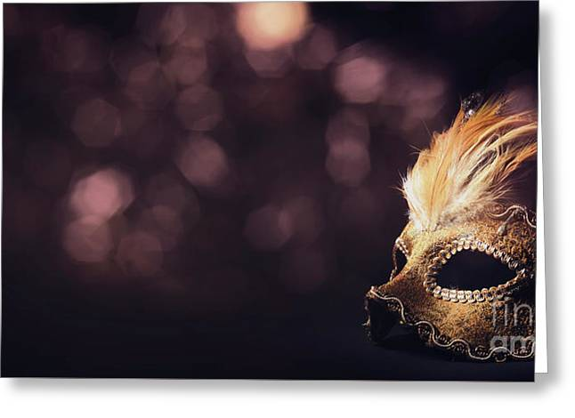Venetian Mask Greeting Card by Jelena Jovanovic