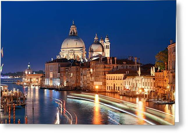 Greeting Card featuring the photograph Venice Grand Canal Viewed At Night by Songquan Deng