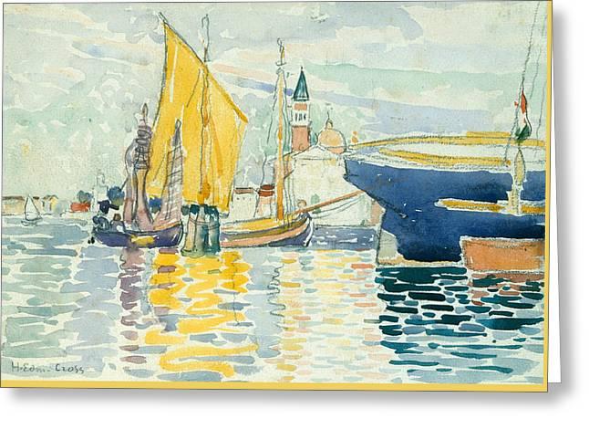 Venice-the Giudecca Greeting Card by Henri-Edmond Cross