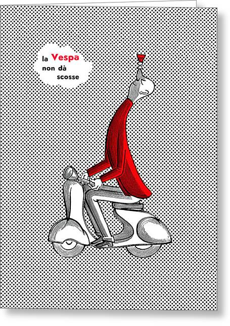 T Shirts Greeting Cards - Vespa 1957 Greeting Card by Mark Rogan