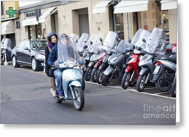 Vespa In Florence Greeting Card by Andre Goncalves