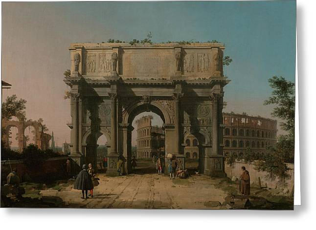 View Of The Arch Of Constantine With The Colosseum Greeting Card by Canaletto