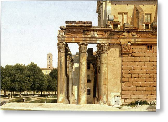 View Of The Via Sacra, Rome Greeting Card