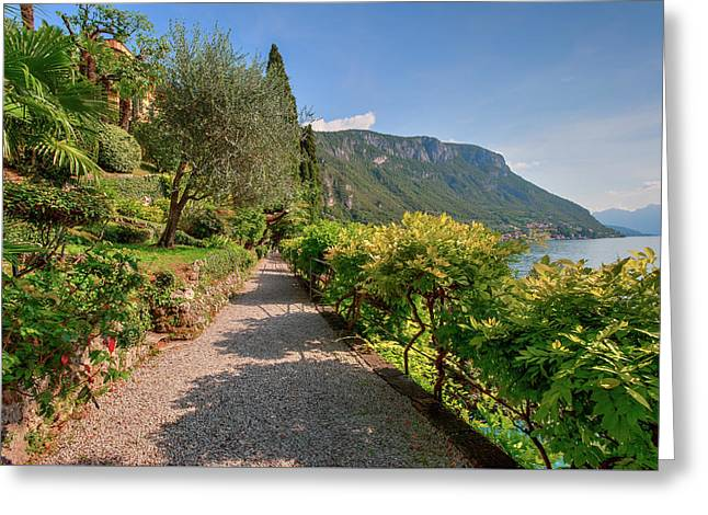 Greeting Card featuring the photograph Villa Cipressi Gardens by Brenda Jacobs