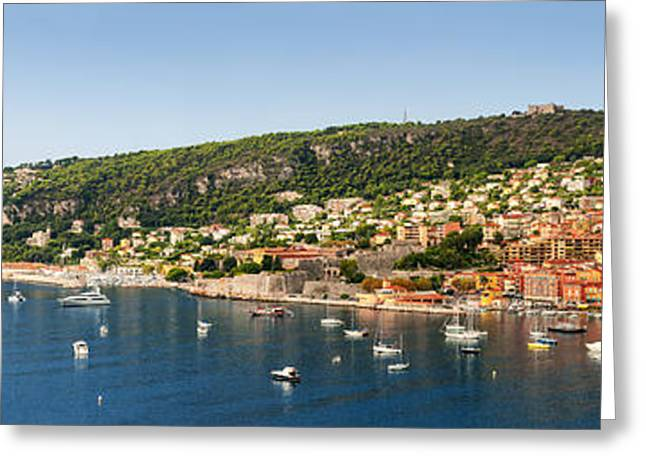 Mediterranean Landscape Greeting Cards - Villefranche-sur-Mer and Cap de Nice on French Riviera Greeting Card by Elena Elisseeva