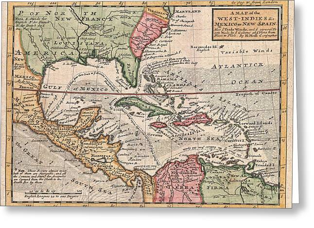 Vintage Map Of The Caribbean Greeting Card by CartographyAssociates