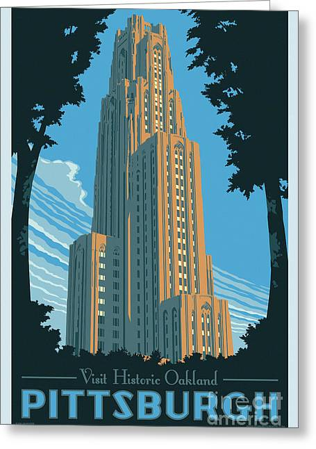 Vintage Style Pittsburgh Travel Poster Greeting Card by Jim Zahniser