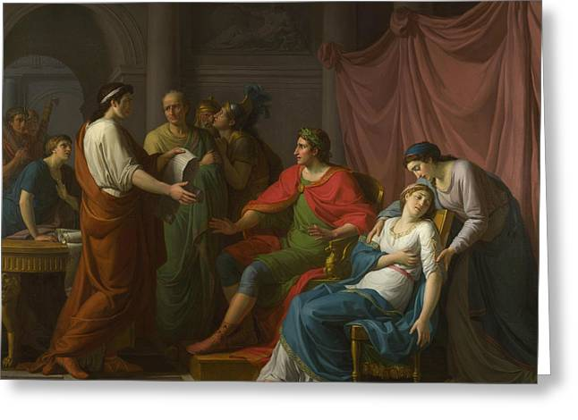 Virgil Reading The Aeneid To Augustus And Octavia Greeting Card by Jean Joseph Taillasson
