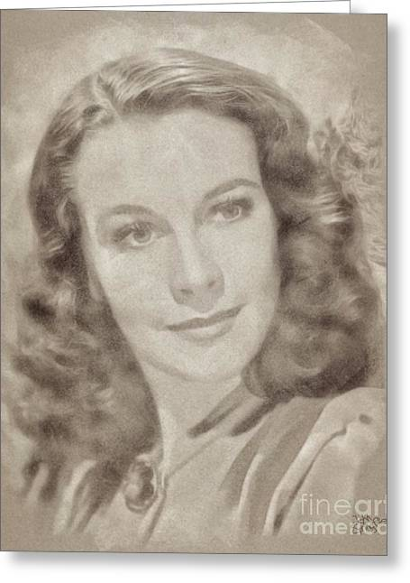 Vivien Leigh Hollywood Actress Greeting Card by John Springfield