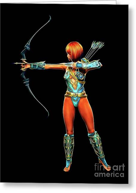 Warrior Queen, Digital Cosplay Art By Mb Greeting Card