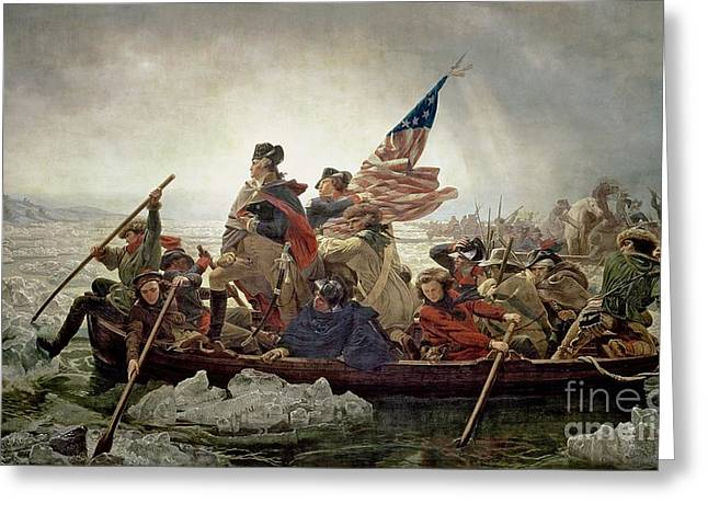 Troops Greeting Cards - Washington Crossing the Delaware River Greeting Card by Emanuel Gottlieb Leutze
