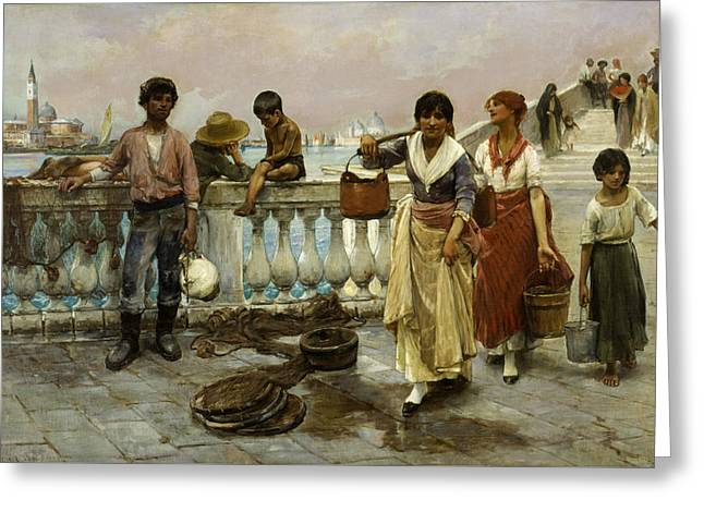 Water Carriers, Venice Greeting Card by Frank Duveneck