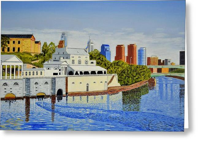 Water Works And Skyline Greeting Card by Michael Walsh