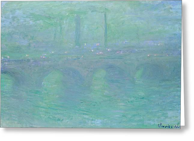 Waterloo Bridge At Dusk Greeting Card by Claude Monet