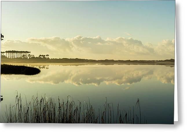Western Lake Misty Morning Panorama Greeting Card