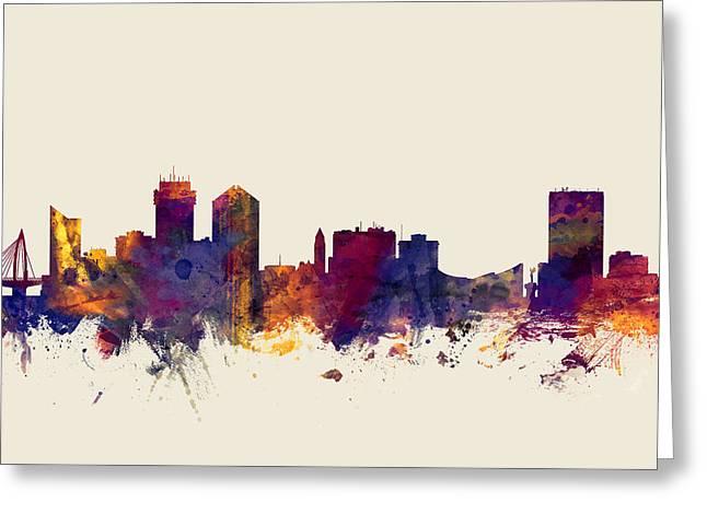 Wichita Kansas Skyline Greeting Card by Michael Tompsett