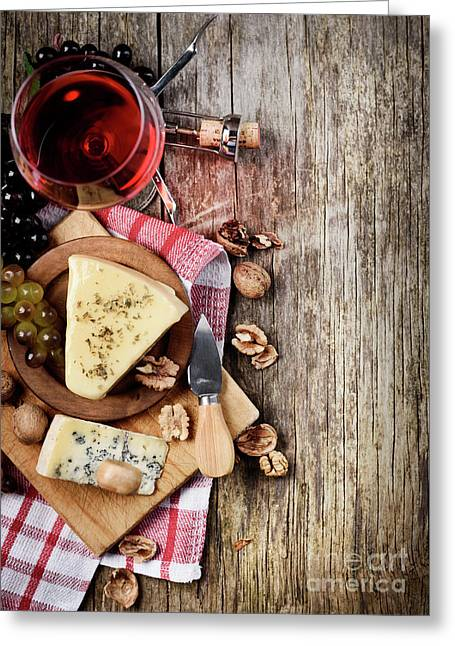 Wine And Cheese Greeting Card by Jelena Jovanovic