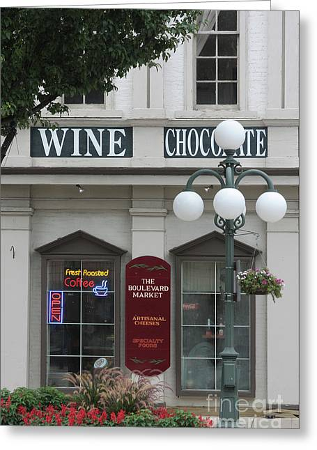 Wine And Chocolate Greeting Card