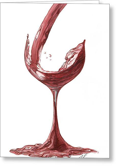 Red Wine Pouring Greeting Card