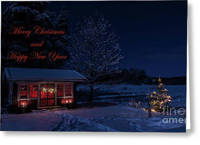 Greeting Card featuring the photograph Winter Night Greetings In English by Torbjorn Swenelius