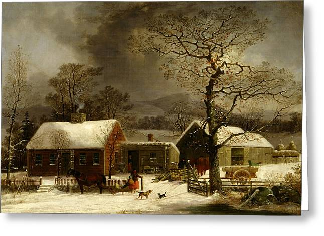 Winter Scene In New Haven, Connecticut Greeting Card