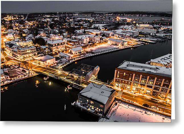 Greeting Card featuring the photograph Winter Twilight In Mystic Connecticut by Petr Hejl